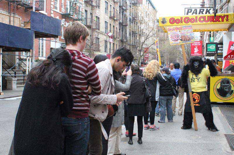 Everybody loves Go! Go! Curry! A line forms outside the grand opening of Go! Go! Curry! Washington Square Park