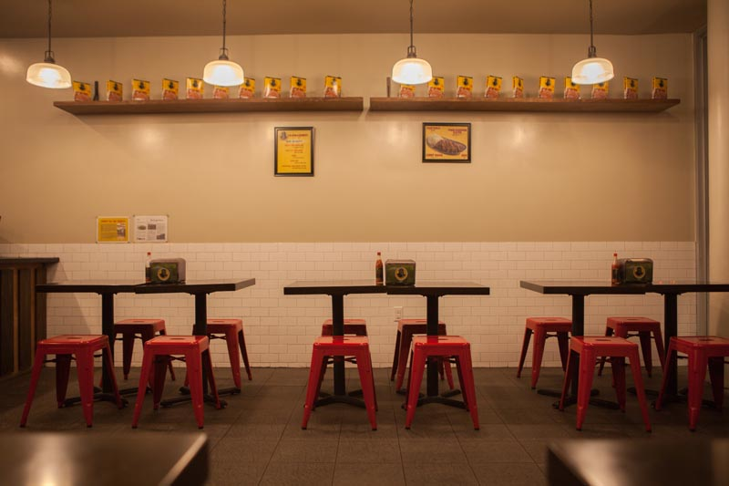 Interior of Go! Go! Curry!'s Harlem dining room.